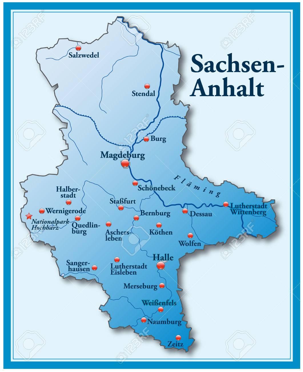 Karte Sachsen Anhalt.Stock Photo