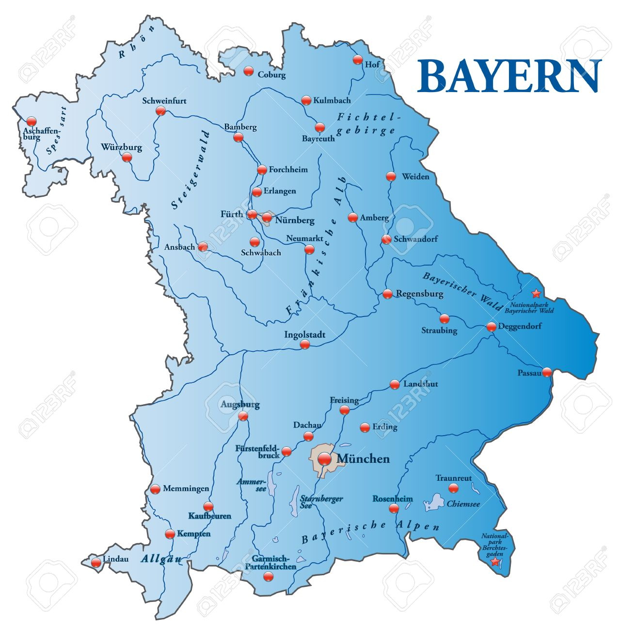 Map Of Bavaria As An Overview Map In Blue Royalty Free Cliparts