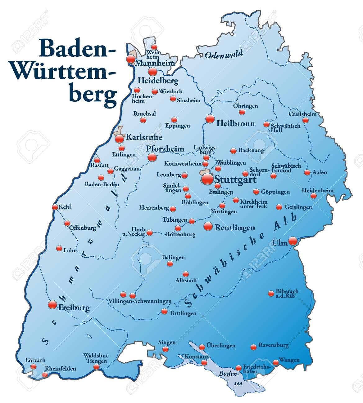 Map Of BadenWuerttemberg As An Overview Map In Blue Royalty Free