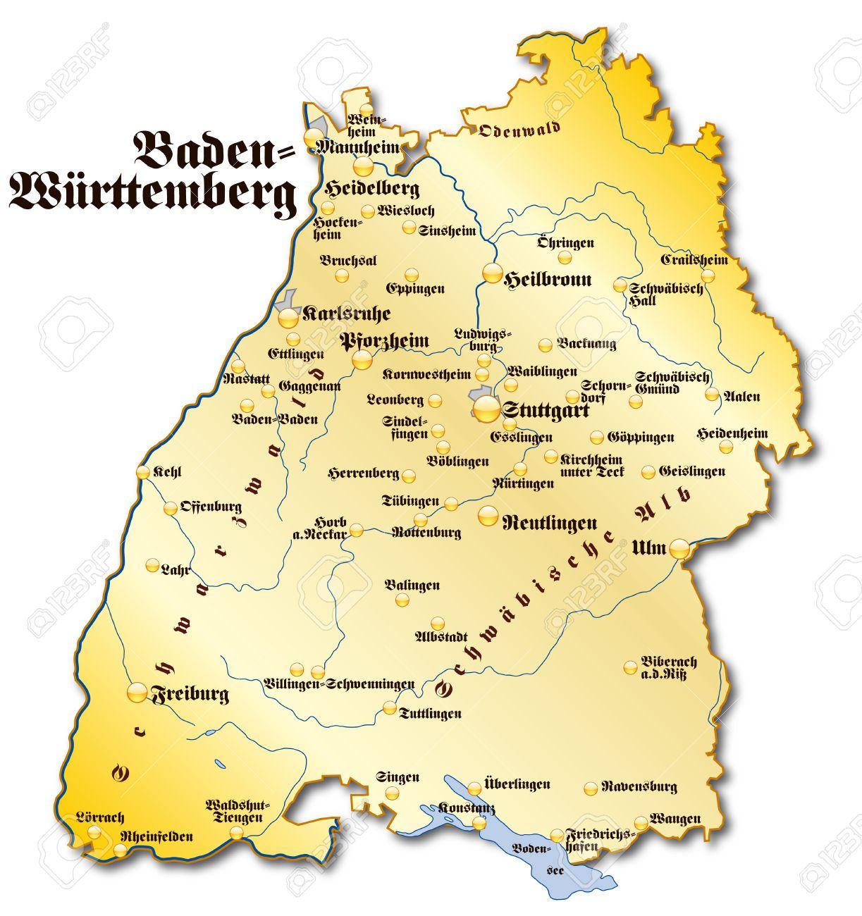 Baden Württemberg Karte.Stock Photo