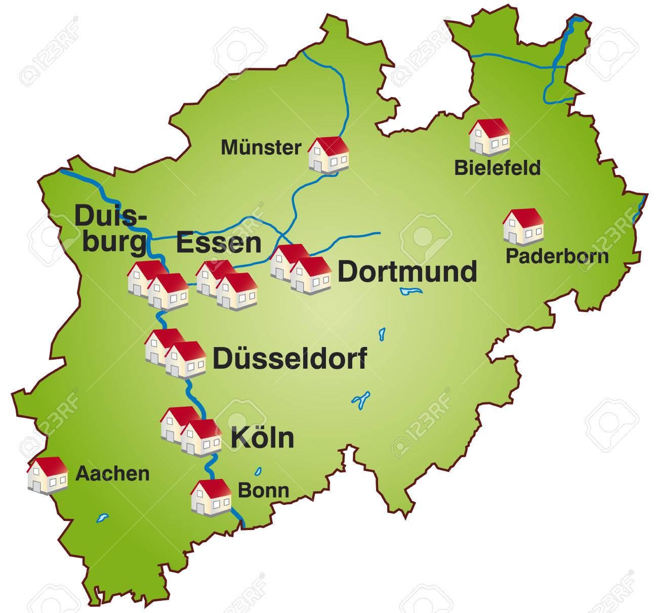 Nordrhein Westfalen Karte.Stock Photo