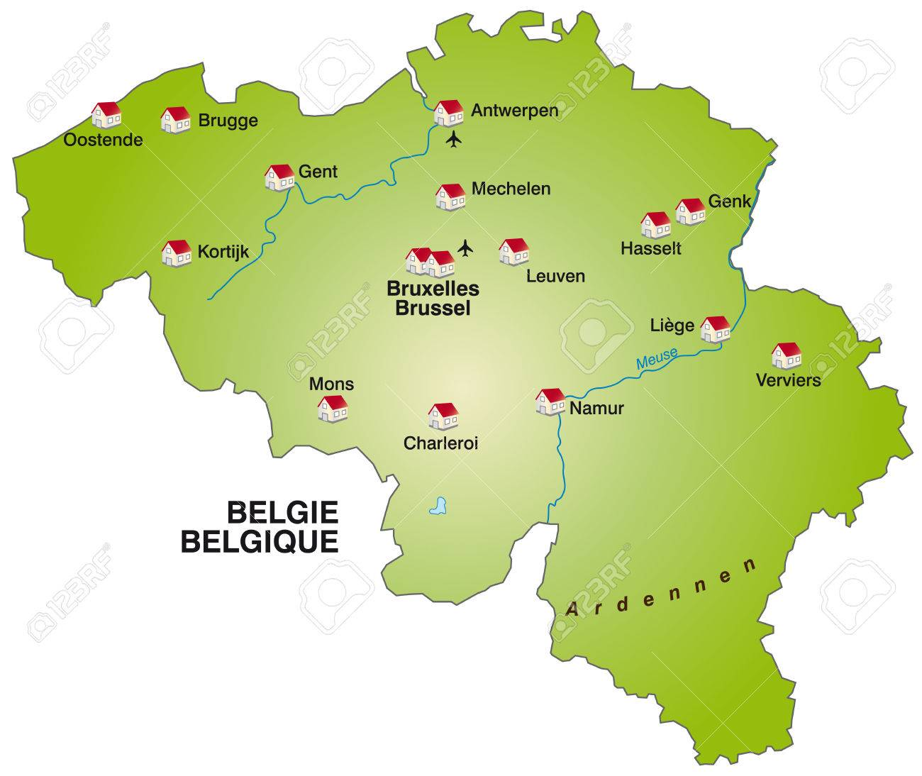 Map Of Belgium As An Infographic In Green Royalty Free Cliparts