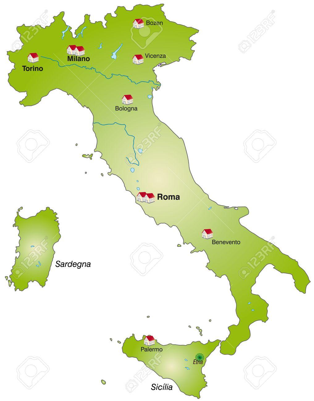 Mapa De Italia Como Una Infografía En Verde Ilustraciones - Mapa de italia