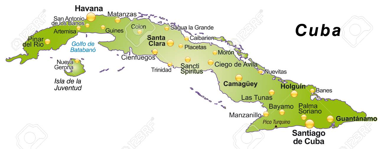 Karte Kuba.Stock Photo