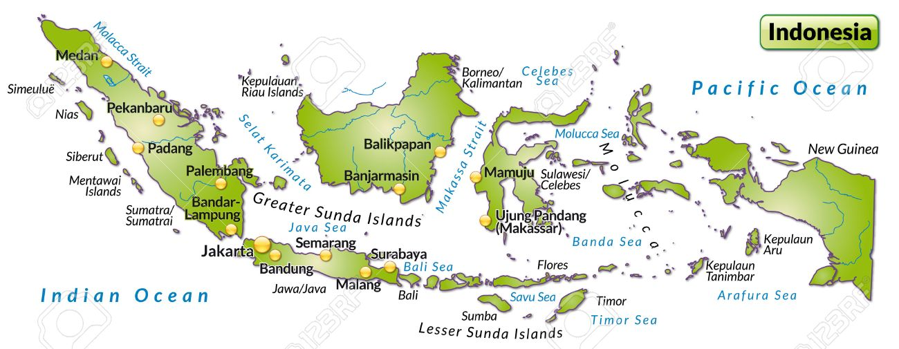 Map Of Indonesia As An Overview Map In Green Royalty Free Cliparts - Indonesia map