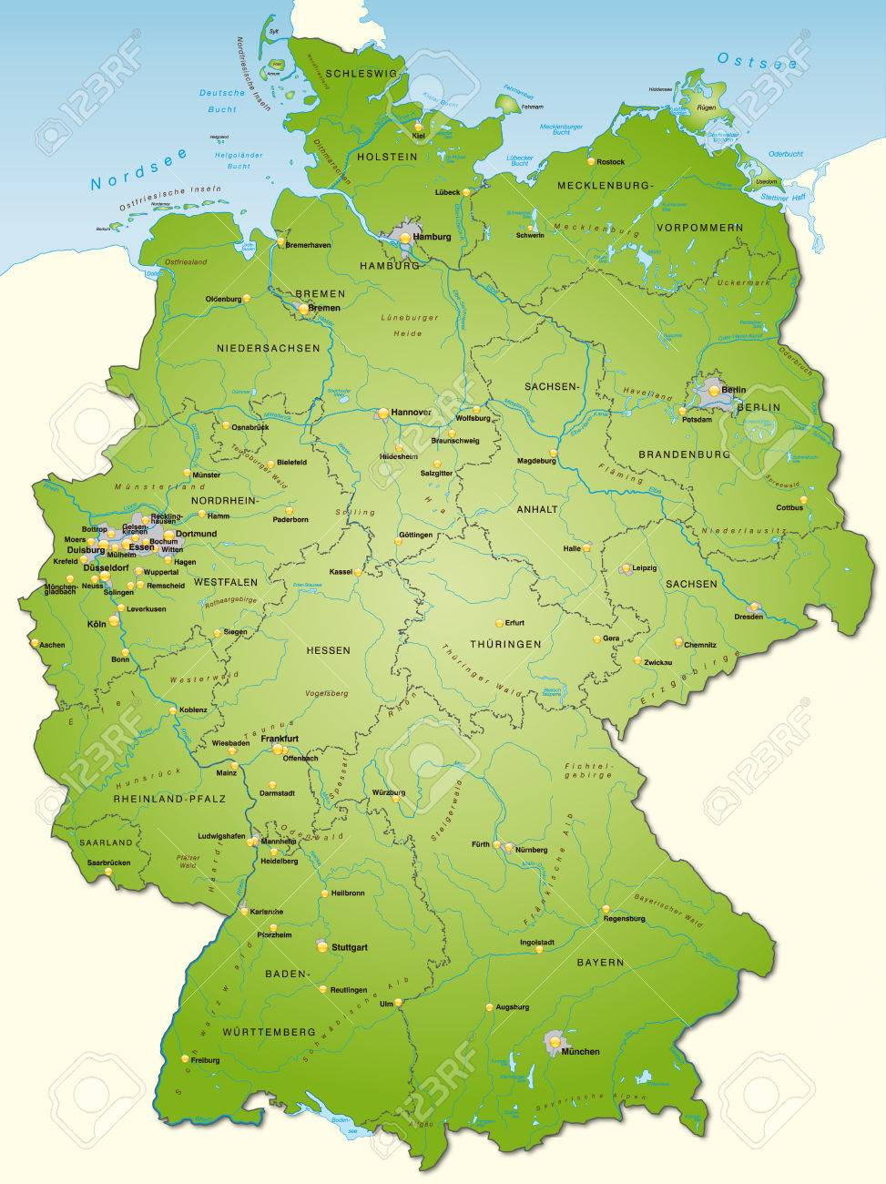 Map Of Germany As An Overview Map In Green Royalty Free Cliparts