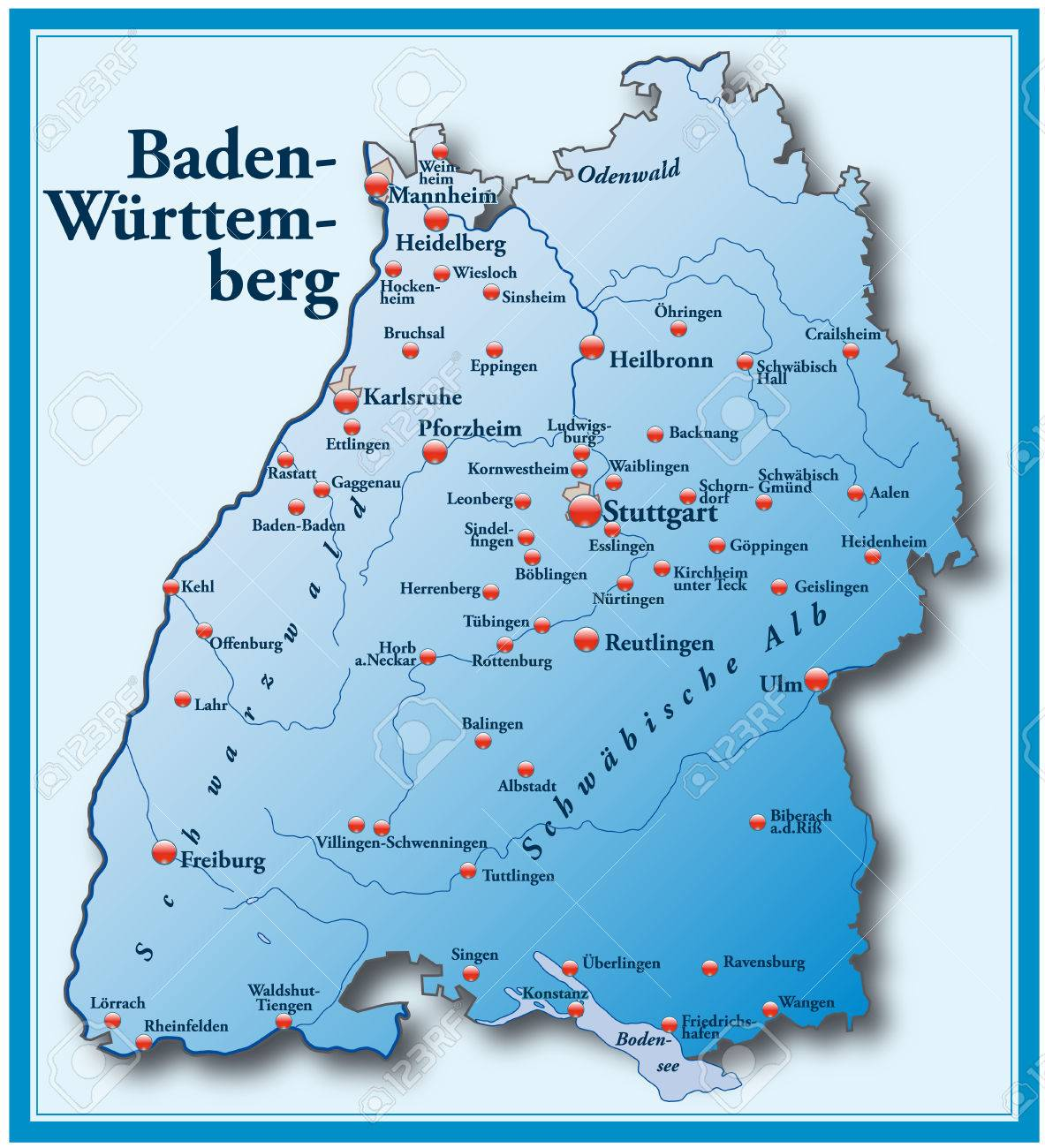 Map Of Baden Wuerttemberg As An Overview Map In Blue Royalty Free