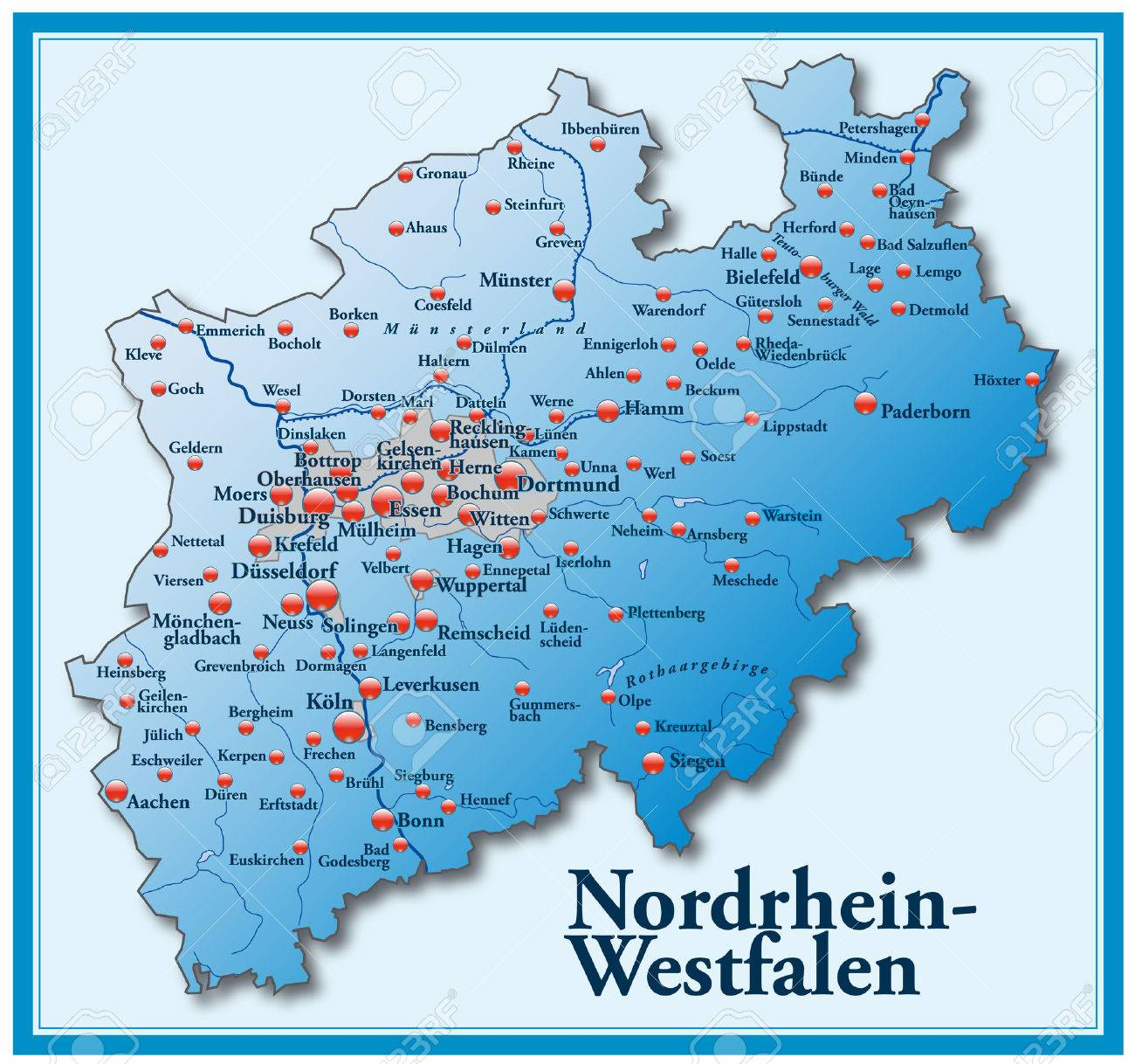 Map Of North RhineWestphalia As An Overview Map In Blue Royalty