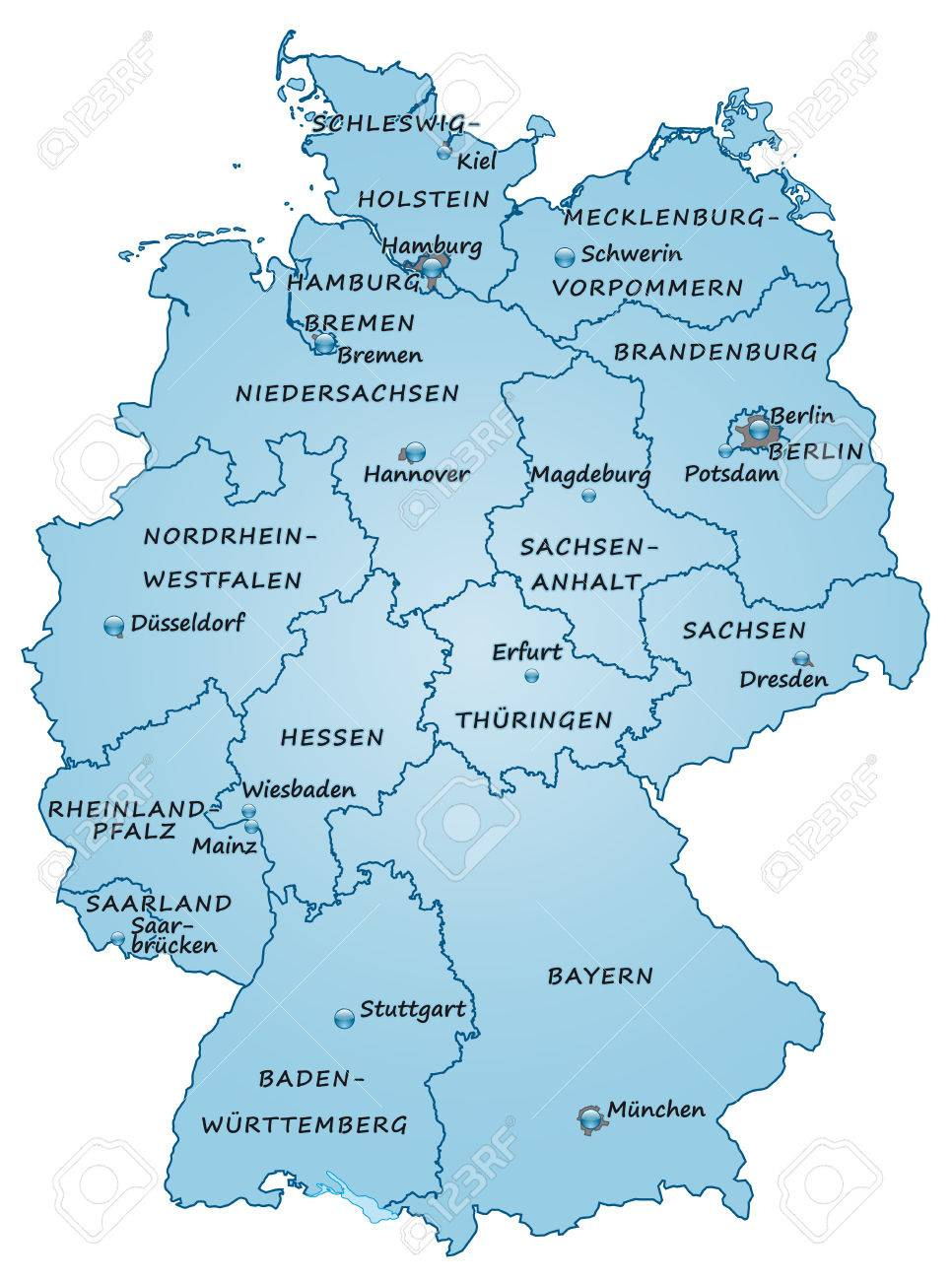 Map Of Germany As An Overview Map In Blue Royalty Free Cliparts