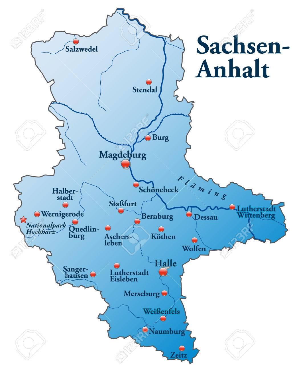 Karte Von Sachsen Anhalt Als Ubersichtskarte In Blau Lizenzfrei
