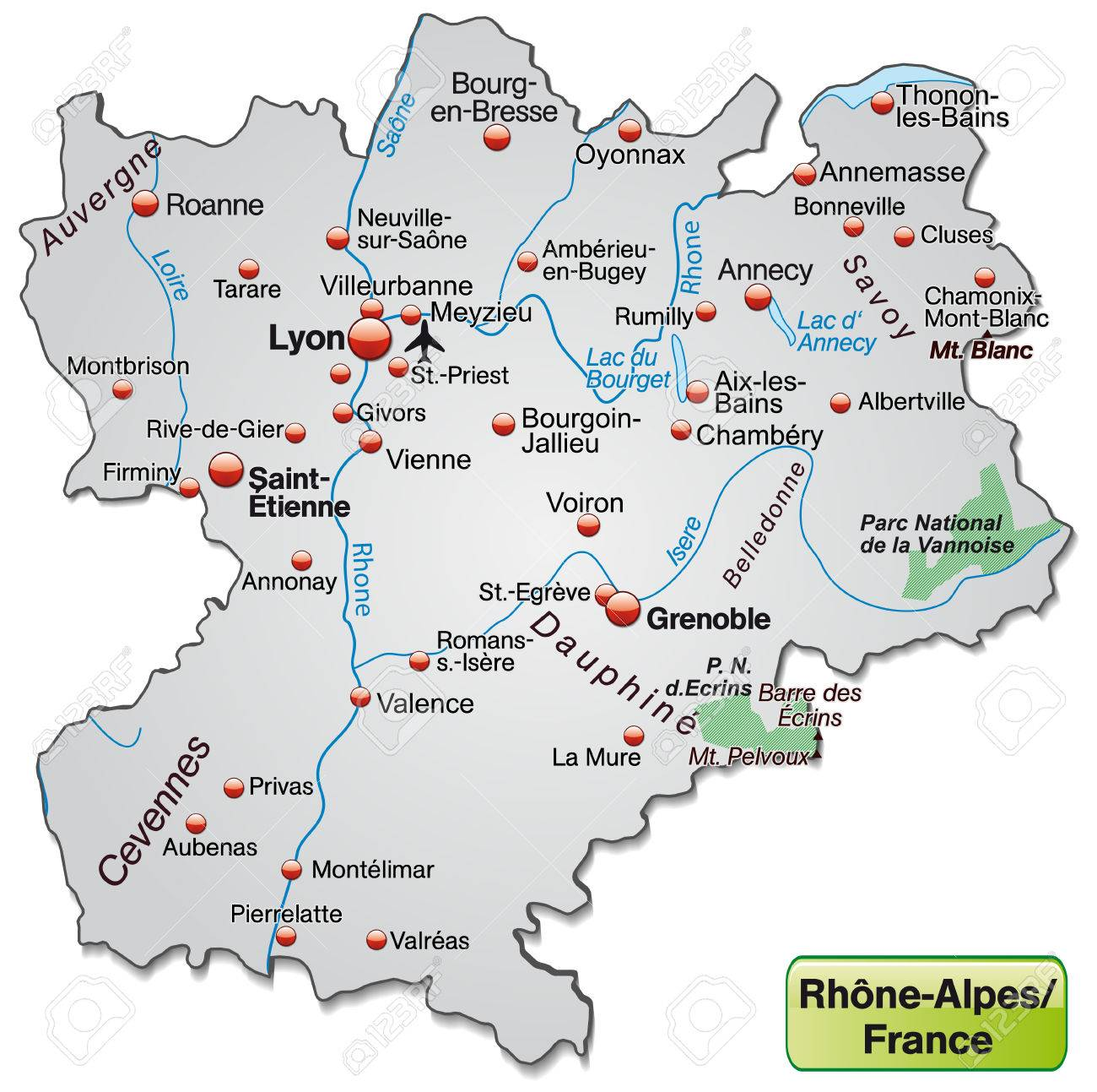 Map Of RhoneAlpes As An Overview Map In Gray Royalty Free Cliparts