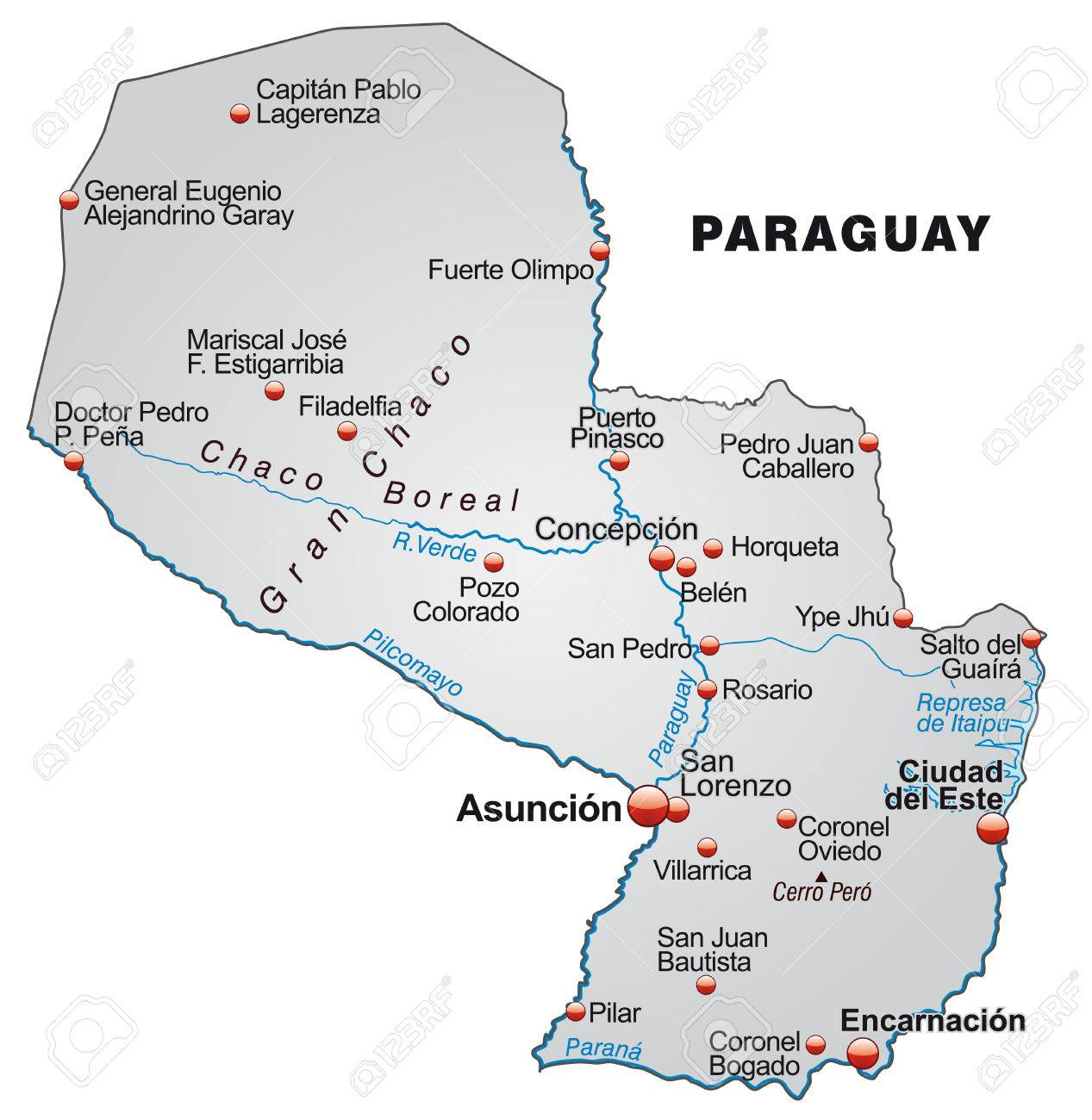 Map Of Paraguay As An Overview Map In Gray Royalty Free Cliparts - Map of paraguay