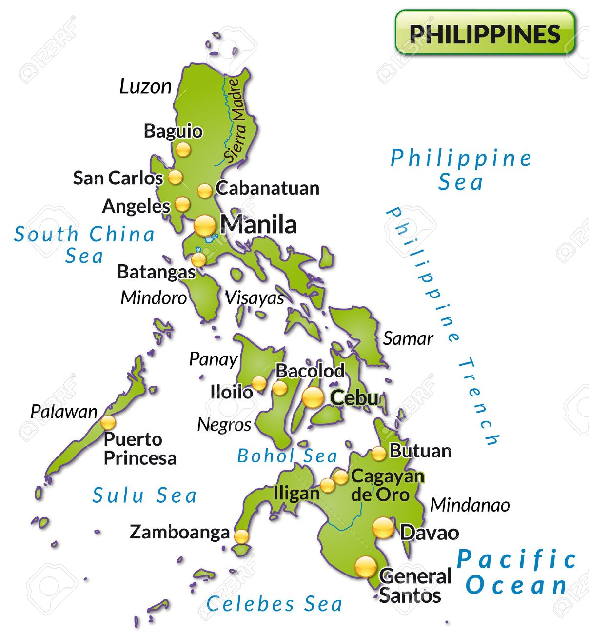 Map Of Philippines As An Overview Map In Green Royalty Free - Map of philippines
