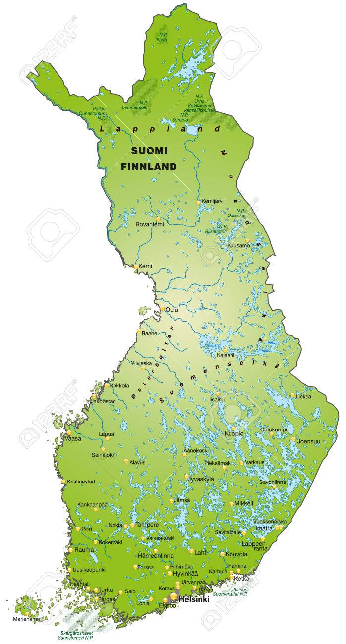 Map Of Finland As An Overview Map In Green Royalty Free Cliparts
