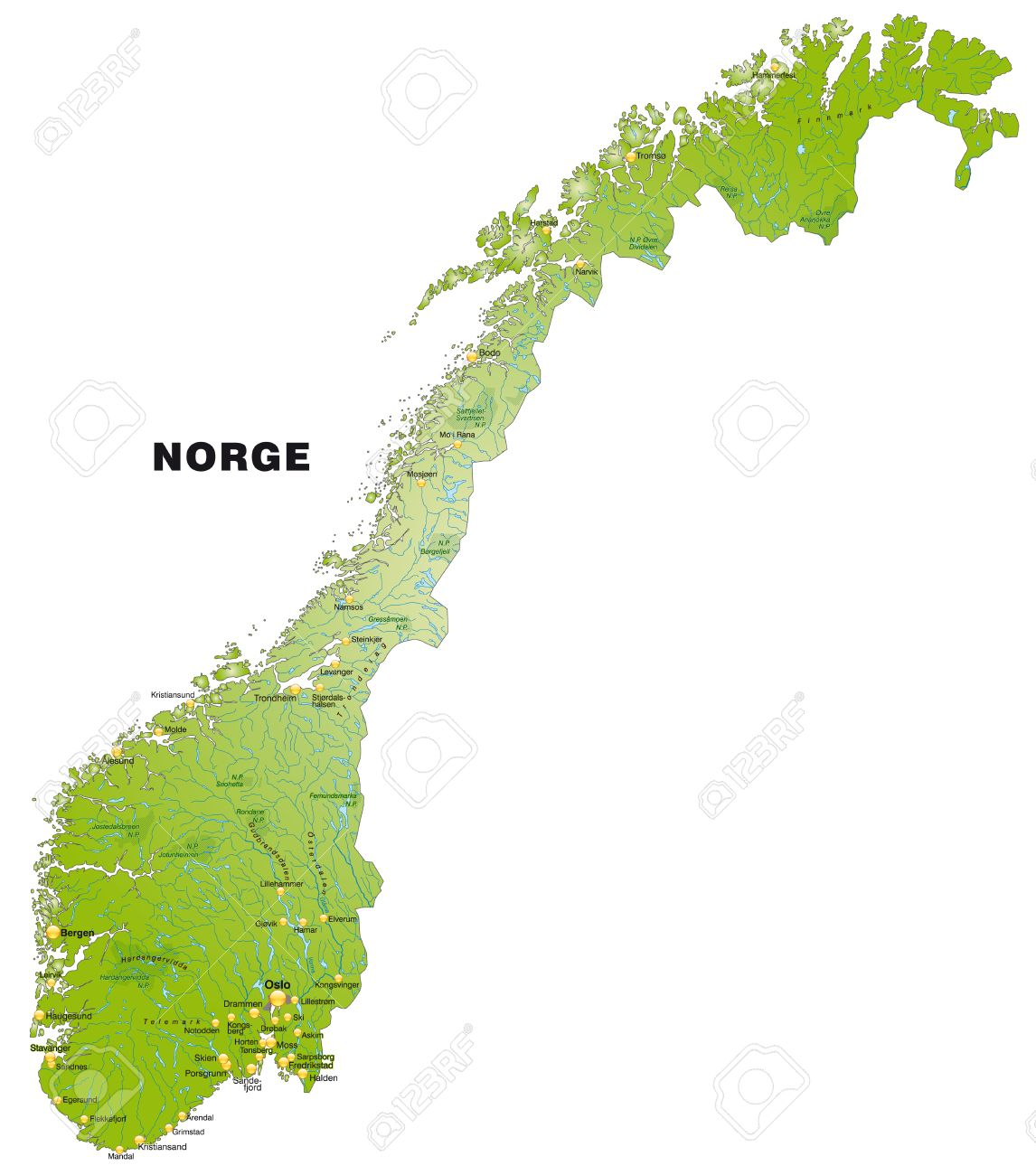 Map Of Norway As An Overview Map In Green Royalty Free Cliparts