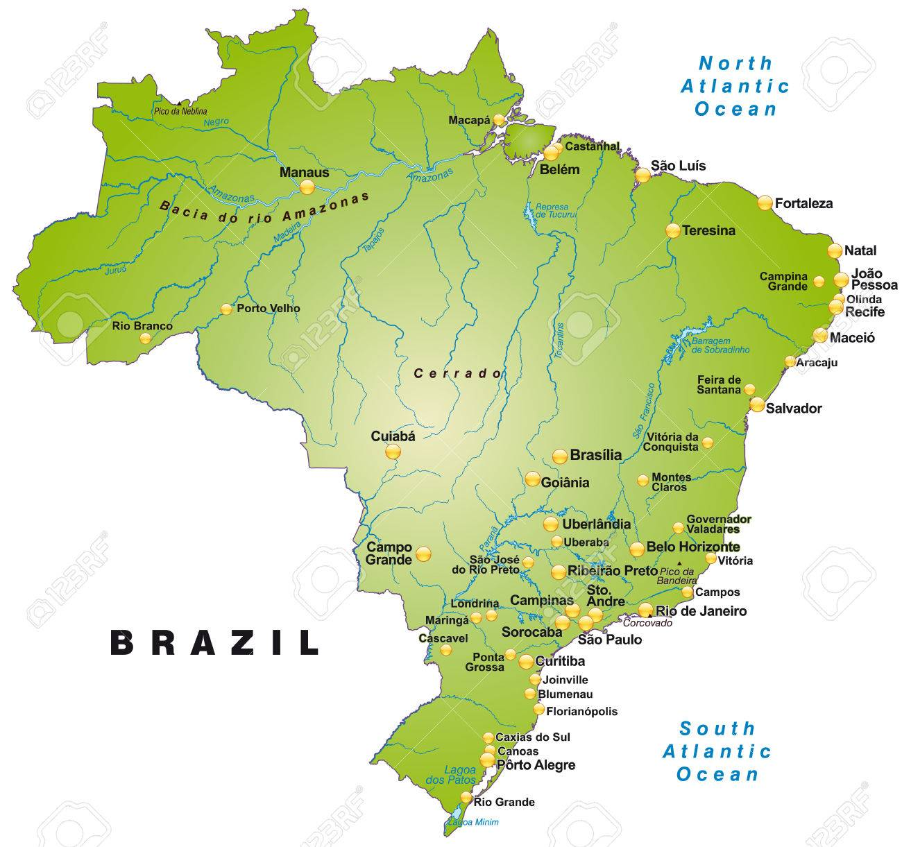 Map Of Brazil As An Overview Map In Green Royalty Free Cliparts - Aracaju map