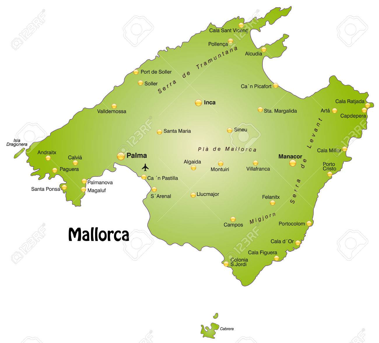 Cala Millor Karte.Map Of Mallorca As An Overview Map In Green