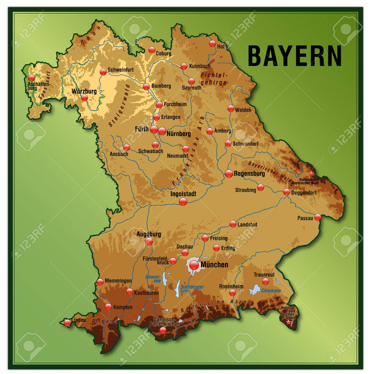 Karte Bayern.Stock Photo