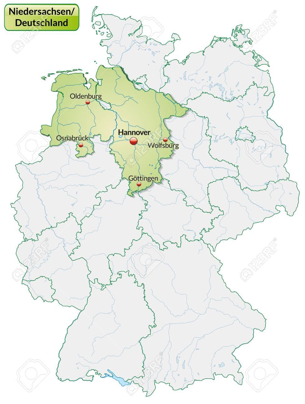 Niedersachsen Karte Mit Städten.Stock Photo