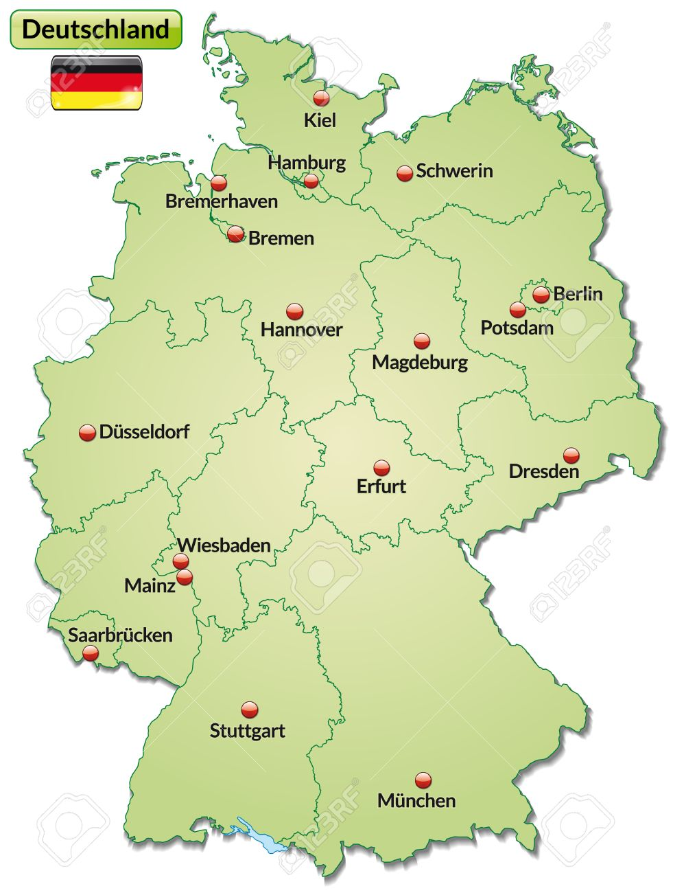Map Of Germany With Main Cities In Pastel Green Royalty Free