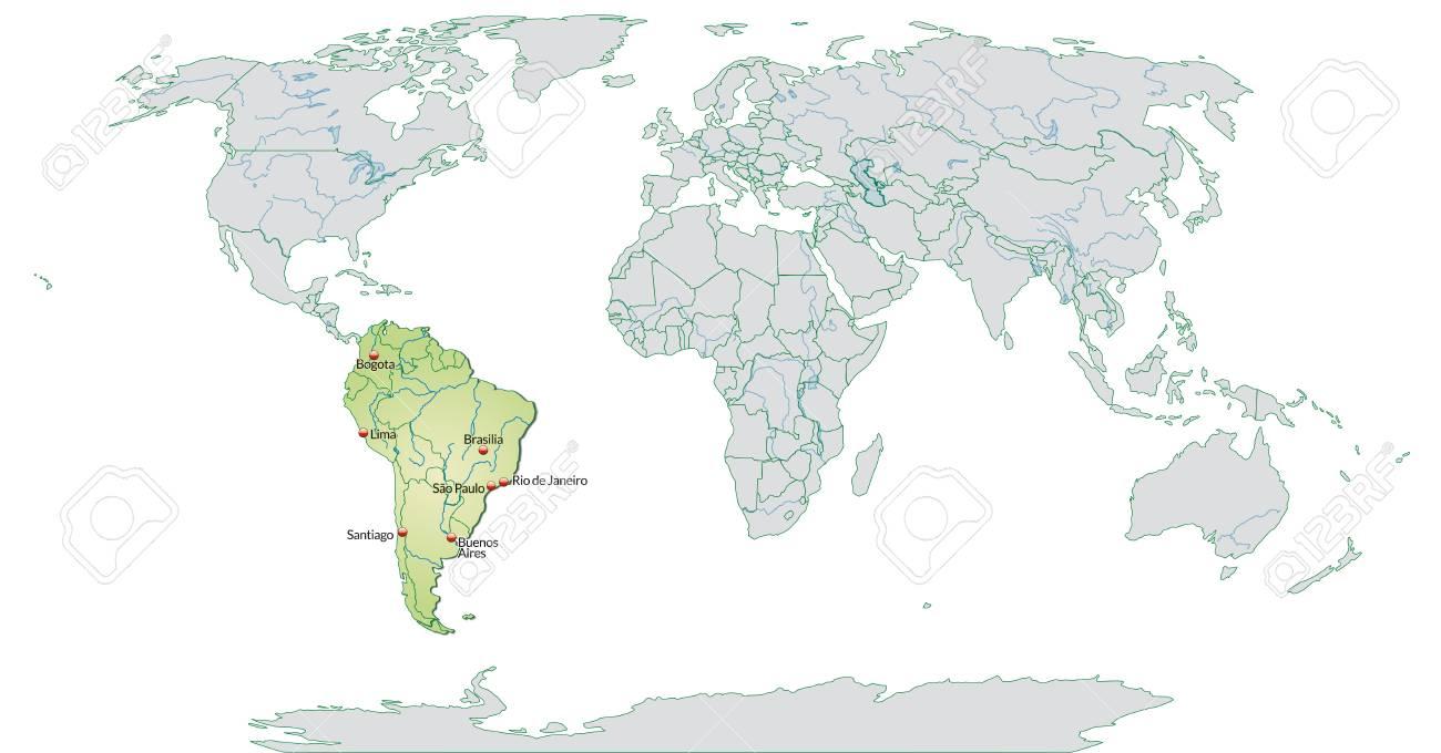 Carte Amerique Du Sud Avec Grandes Villes.Carte De L Amerique Du Sud Avec Les Grandes Villes En Vert Pastel