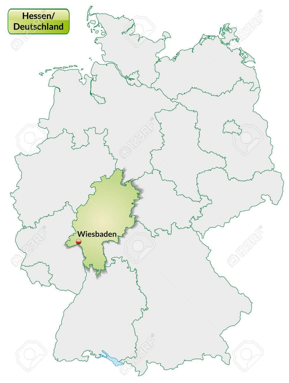 Karte Von Hessen Mit Den Wichtigsten Stadten In Pastellgrun