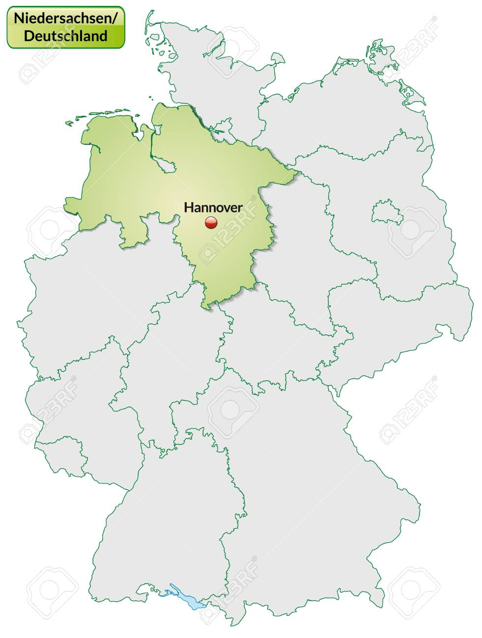 Karte Von Niedersachsen Mit Den Wichtigsten Stadten In Pastellgrun