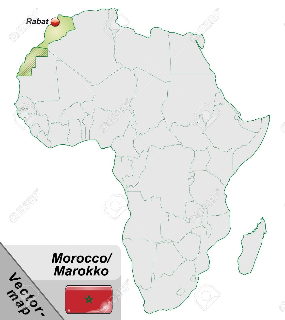 Map Of Morocco With Main Cities In Pastel Green Royalty Free ...
