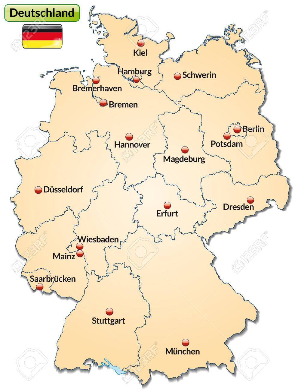 Map Of Germany With Main Cities In Pastel Orange Royalty Free - Germany map main cities