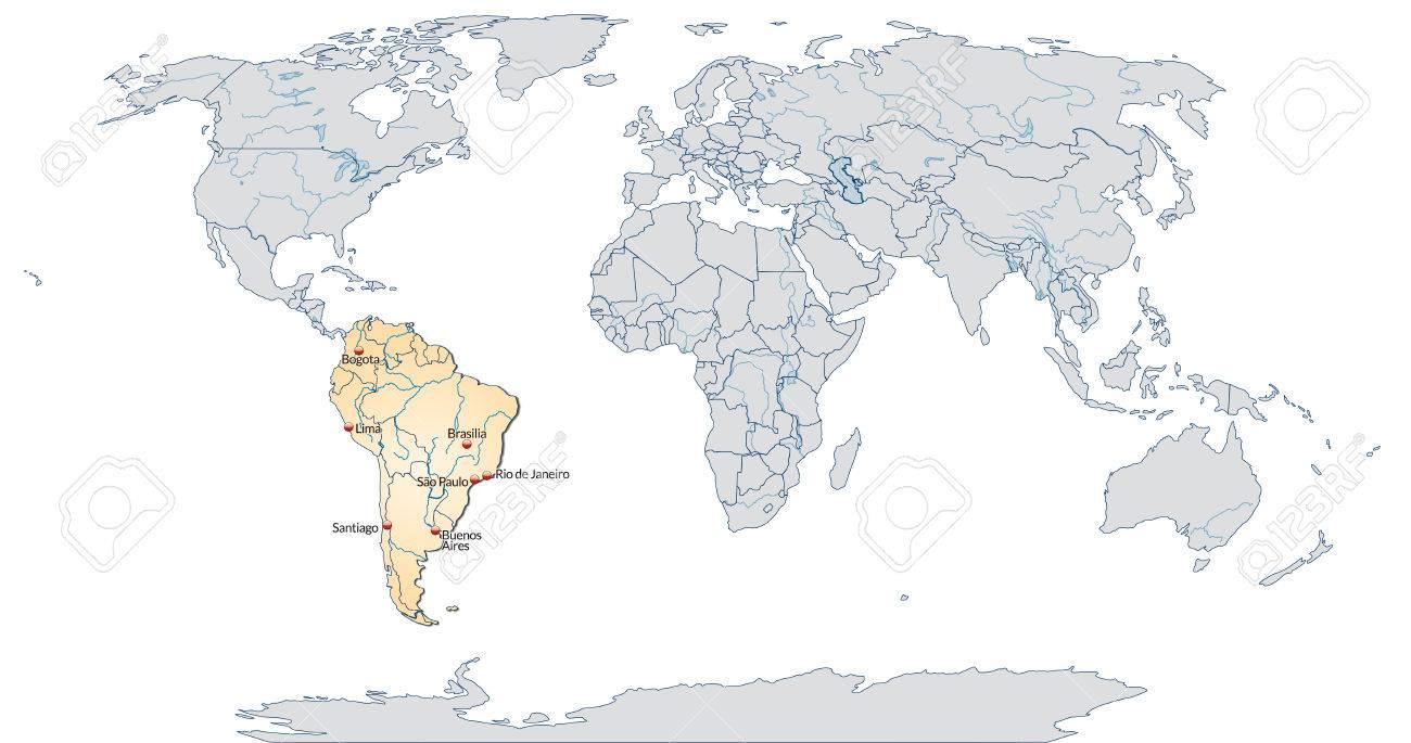 Carte Amerique Du Sud Avec Grandes Villes.Carte De L Amerique Du Sud Avec Les Grandes Villes En Orange Pastel