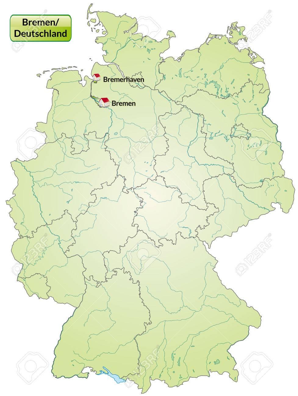 Karte Von Bremen Mit Hauptstadte In Grun Lizenzfrei Nutzbare