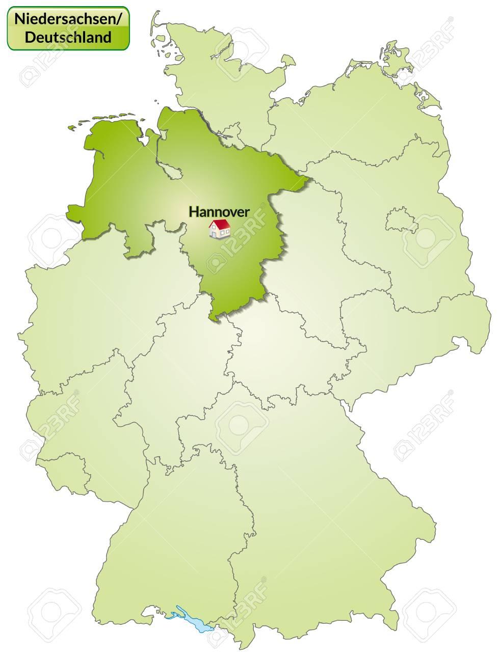 Karte Von Niedersachsen Mit Den Wichtigsten Stadten In Grun