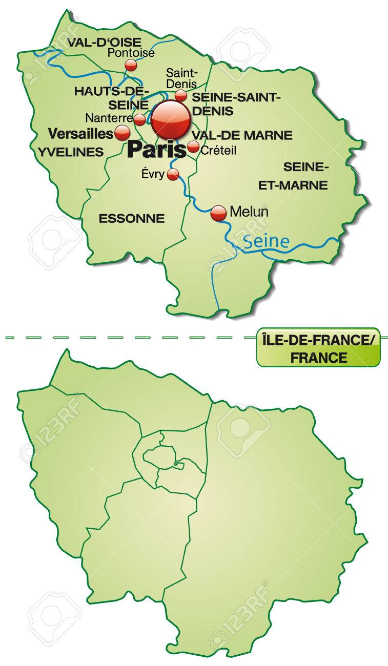 Map Of Yvelines France.Map Of Ile De France With Borders In Pastel Green Royalty Free
