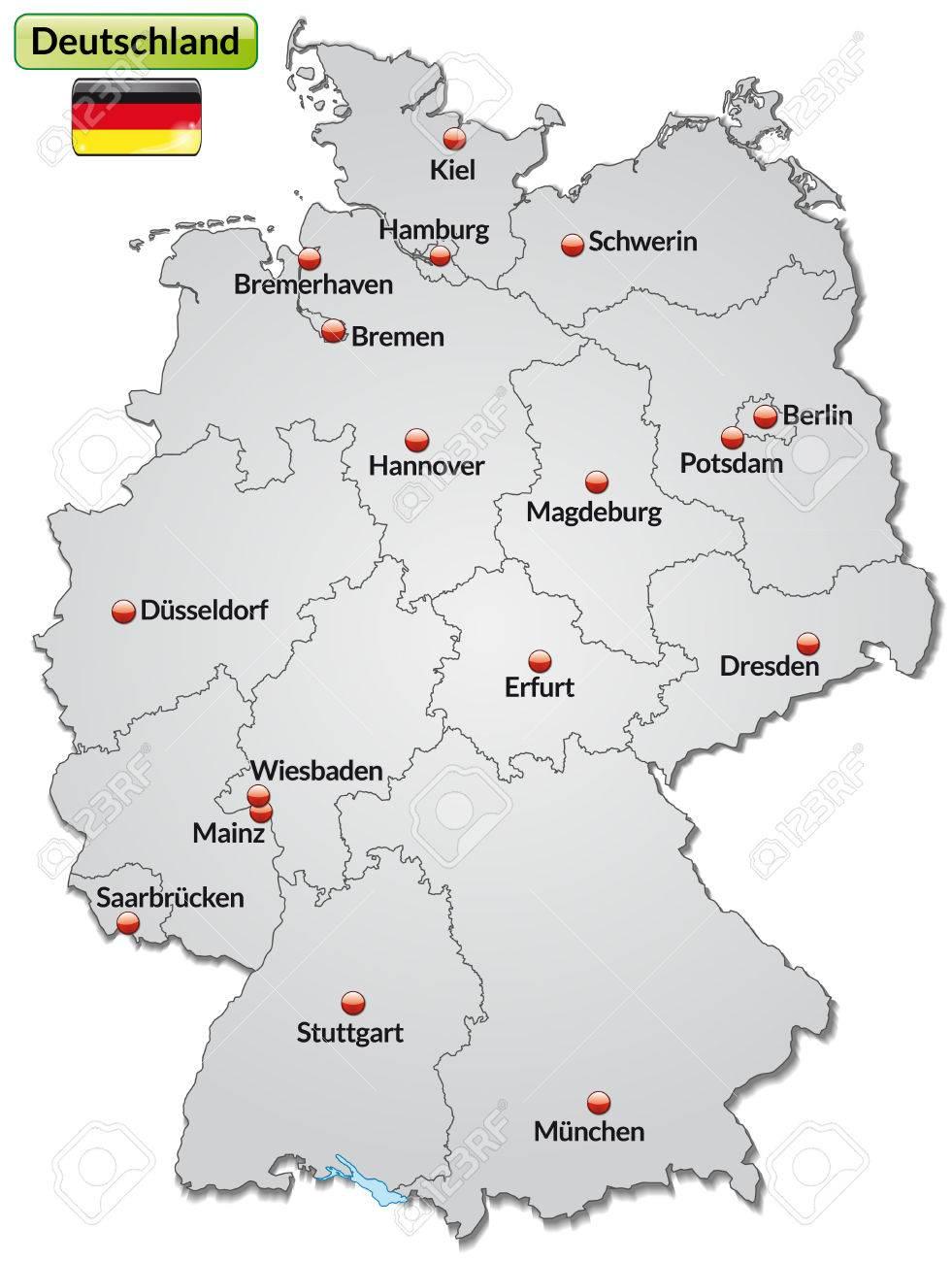Karte Von Deutschland Mit Den Wichtigsten Stadten In Grau