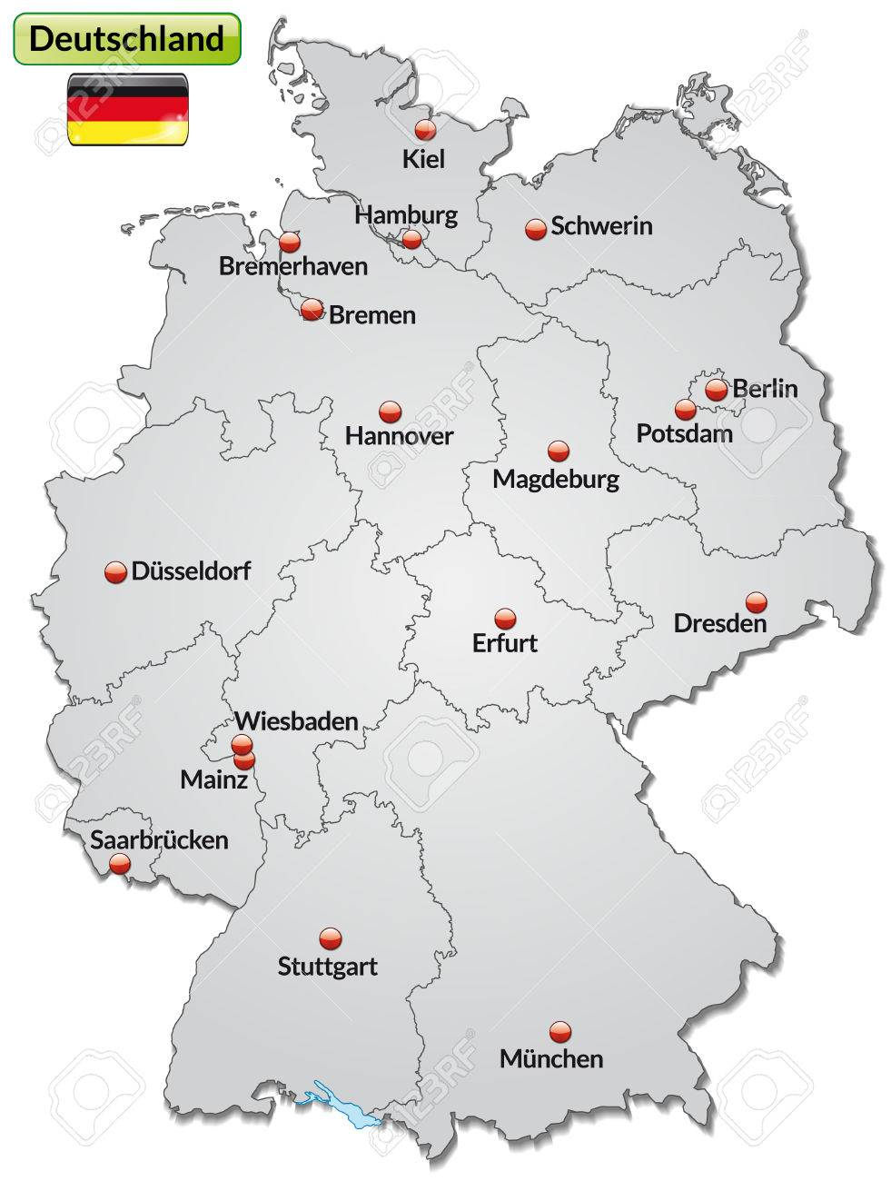 Map Of Germany With Main Cities In Gray Royalty Free Cliparts