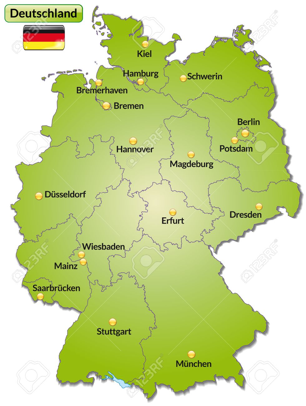 Map Of Germany With Main Cities In Green Royalty Free Cliparts