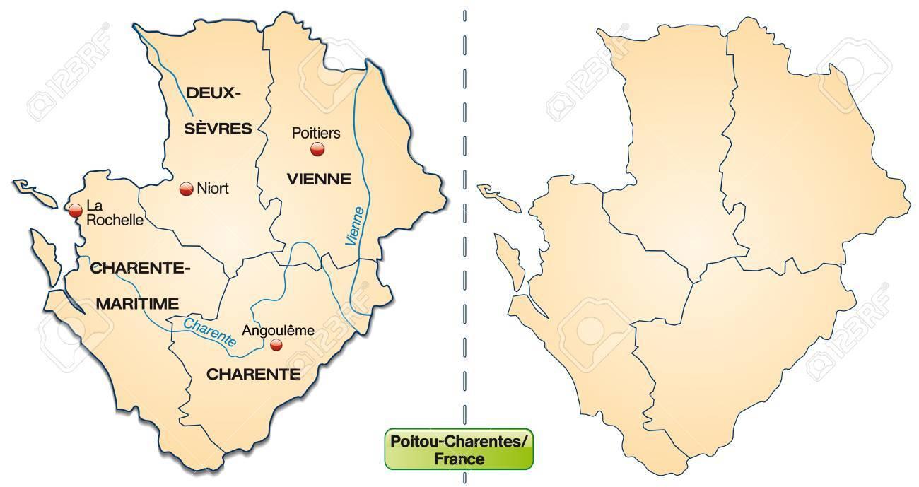 Carte De Poitou Charentes Avec Des Frontières En Orange Pastel