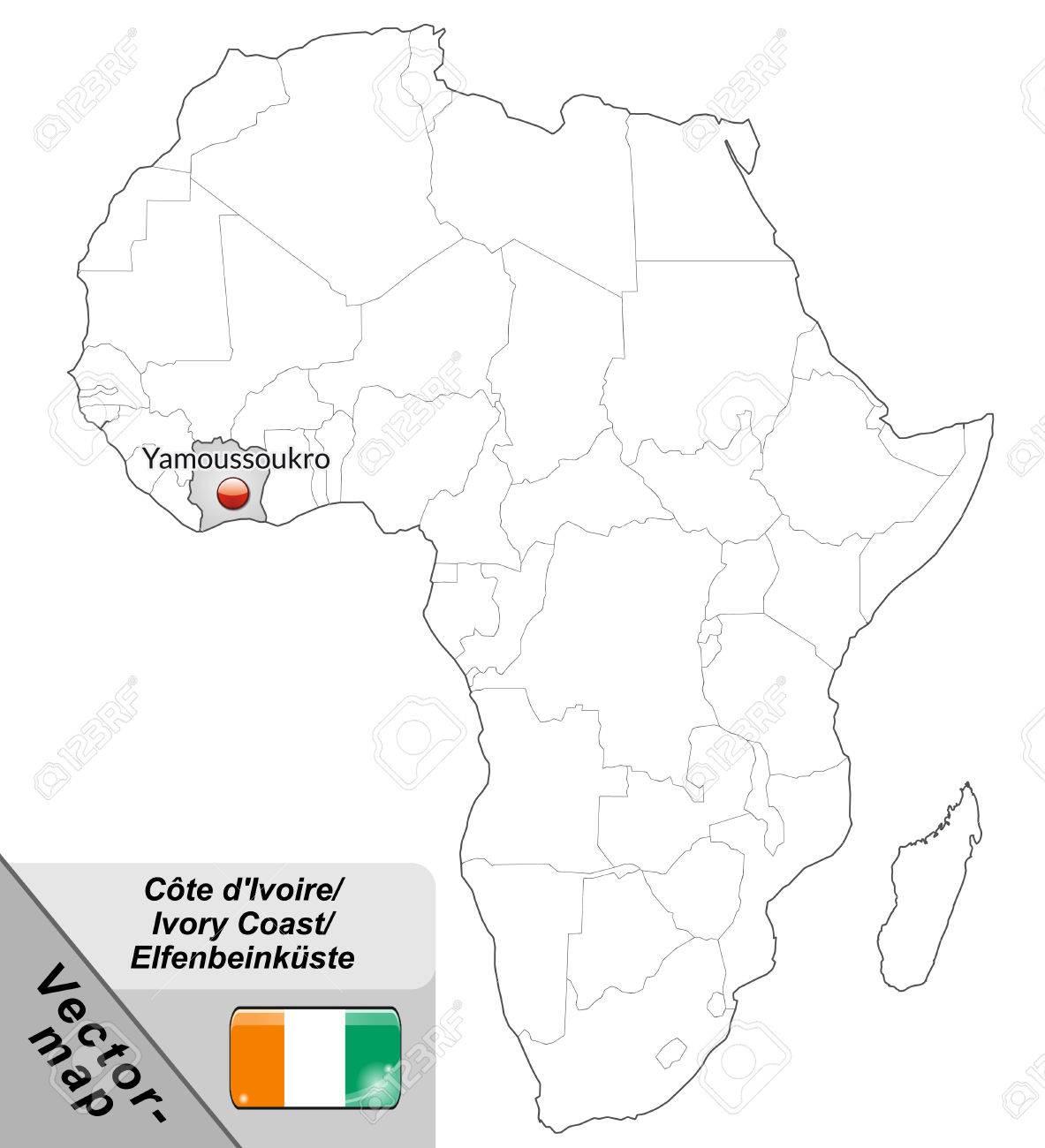 Carte De Côte-d'Ivoire Avec Les Grandes Villes En Gris Clip Art ...