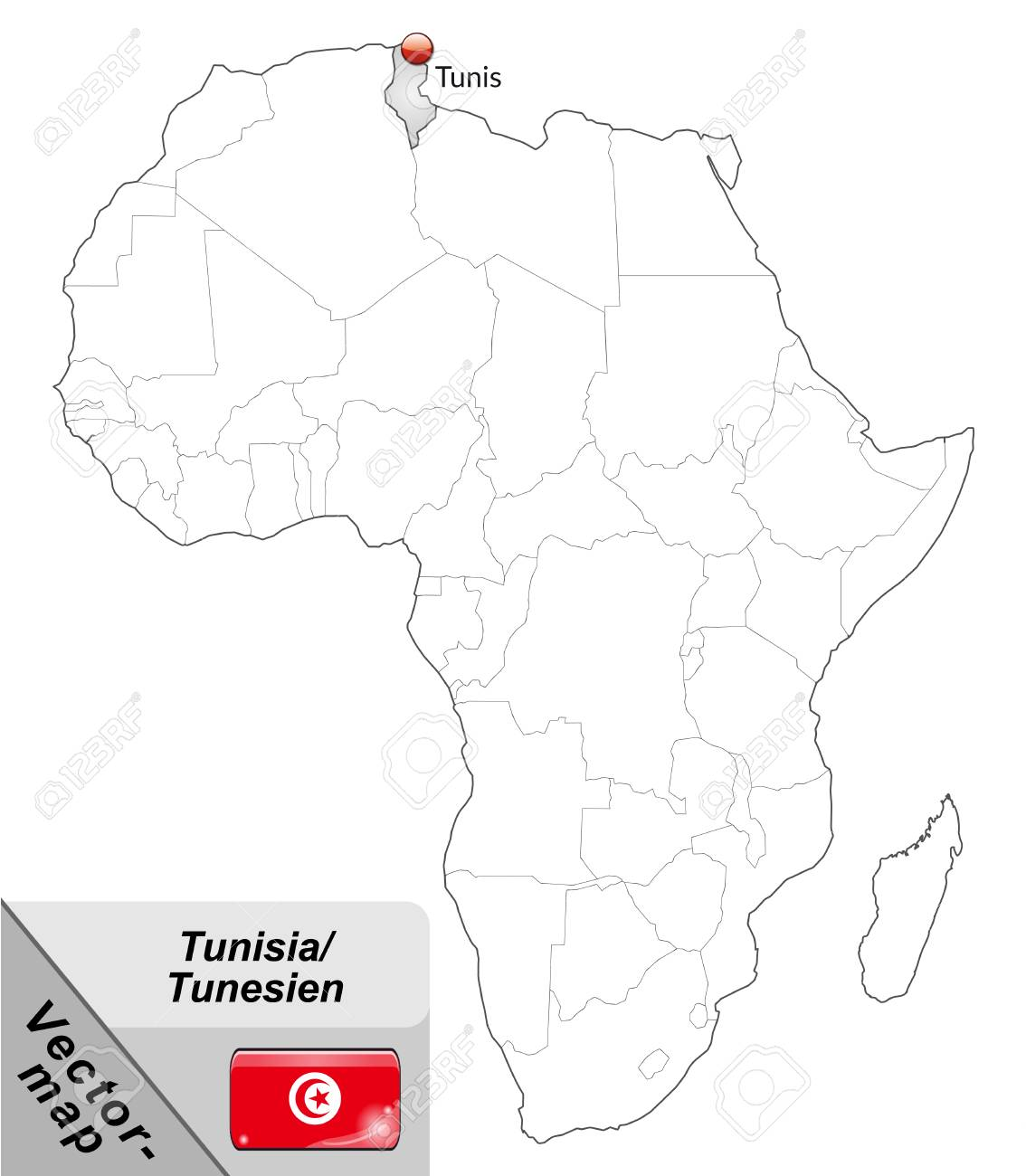 Map Of Tunisia With Main Cities In Gray Royalty Free Cliparts ...