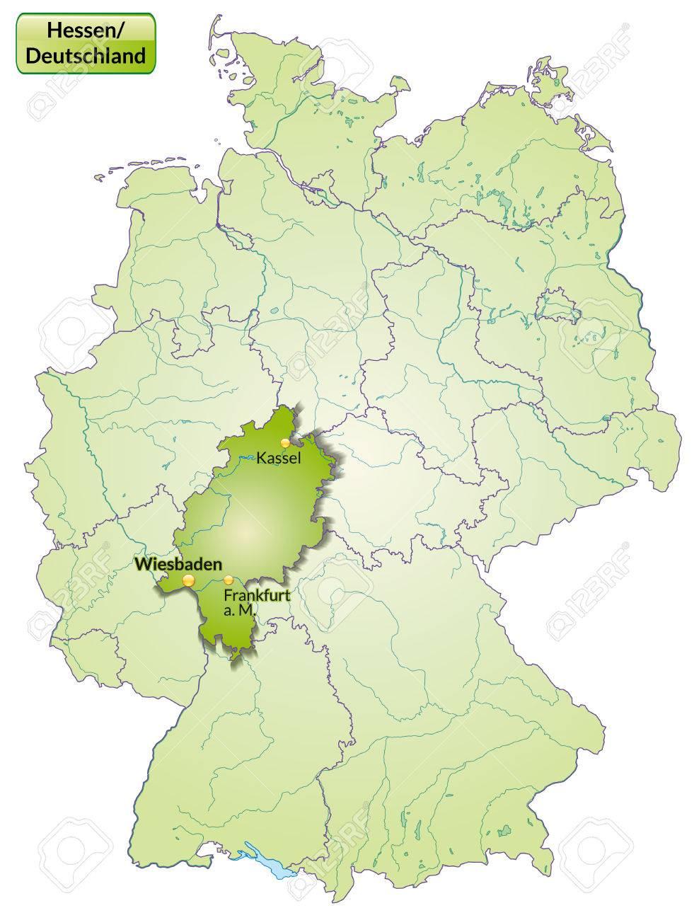 Karte Von Hessen Mit Den Wichtigsten Stadten In Grun Lizenzfrei