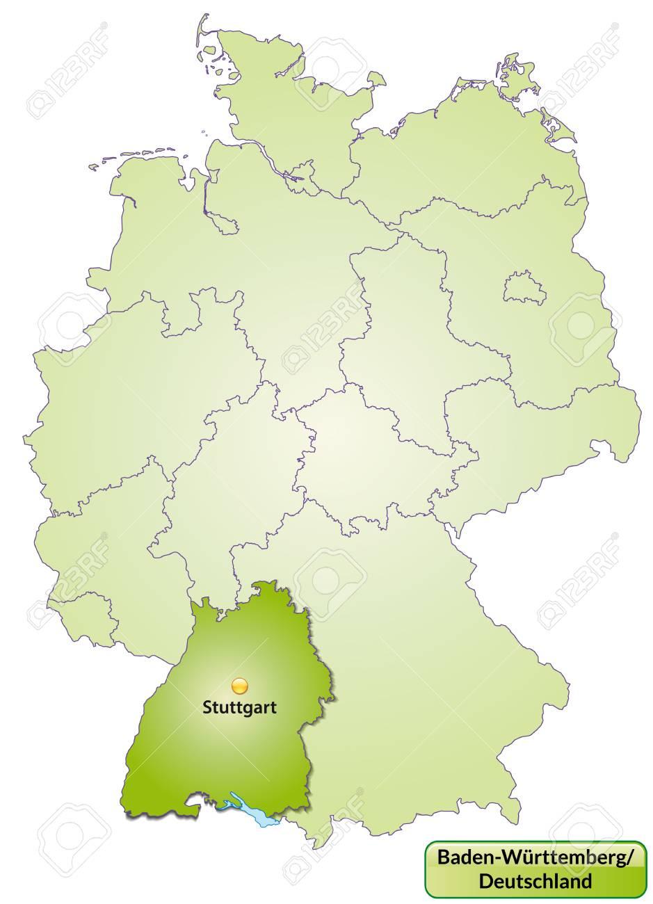 Karte Von Baden Wurttemberg Mit Den Wichtigsten Stadten In Grun