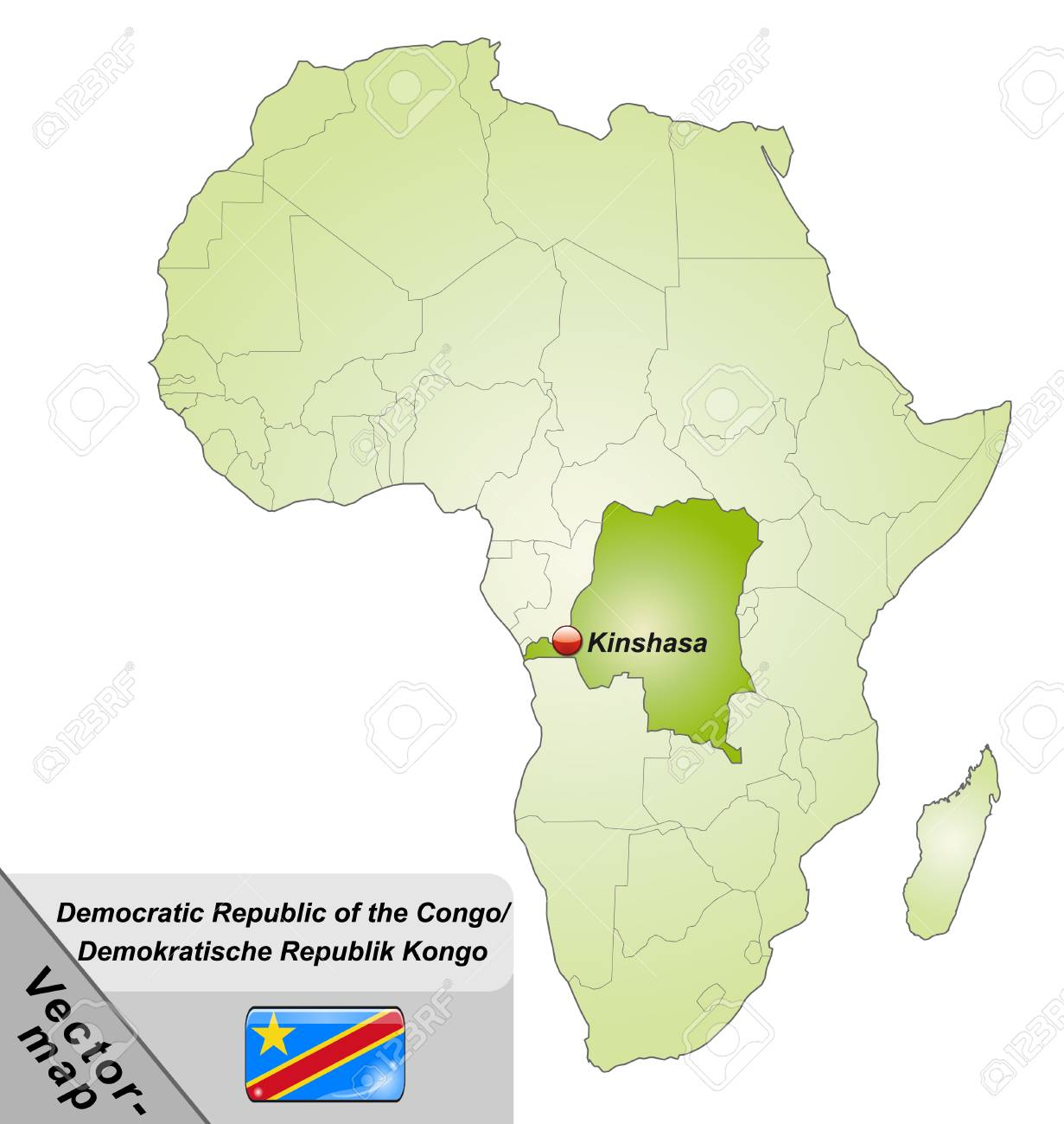 グリーンの主要都市とコンゴ民主共和国の地図のイラスト素材・ベクタ ...