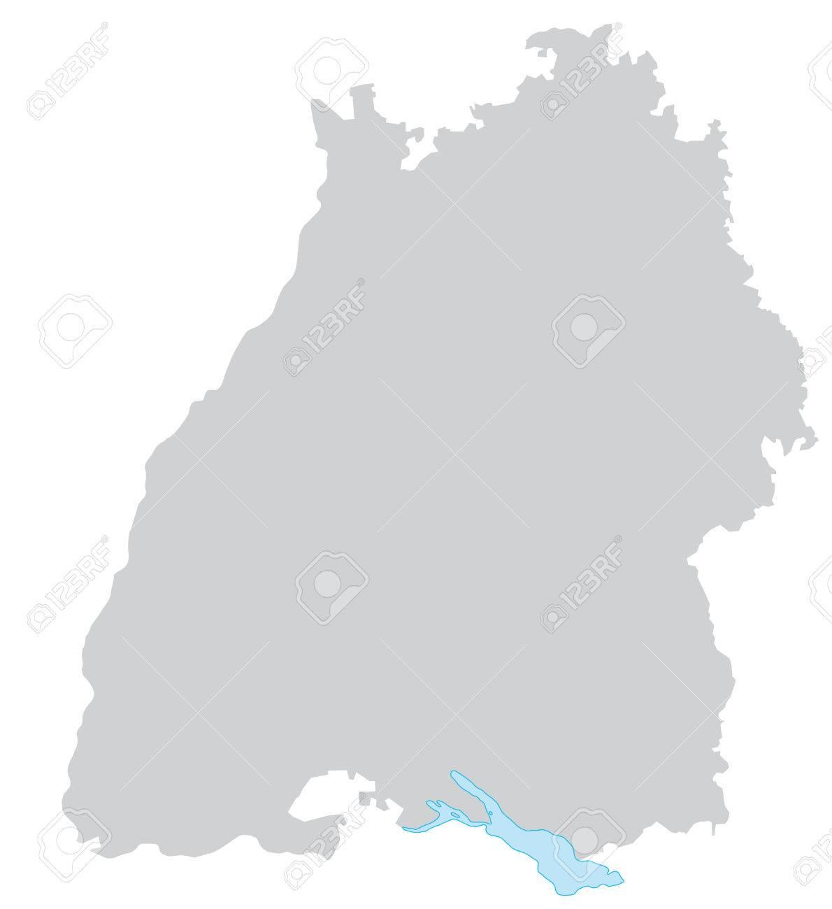 Karte Von Baden-Württemberg Mit Rahmen In Grau Lizenzfrei Nutzbare ...
