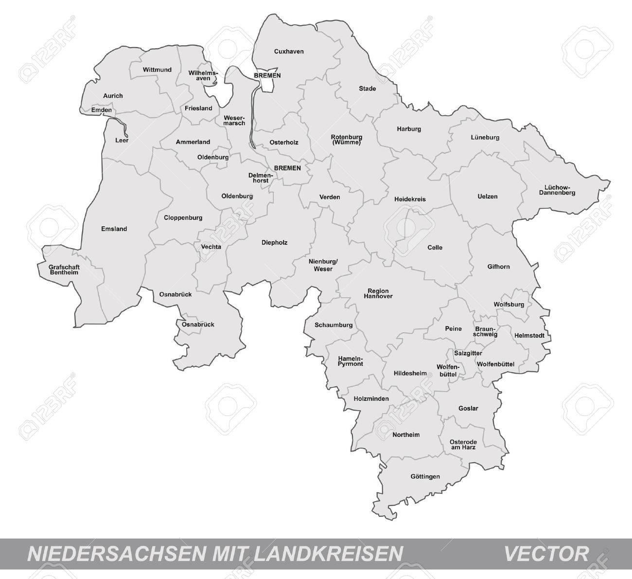 グレーのボーダーとニーダー ザクセン州の地図のイラスト素材・ベクタ ...