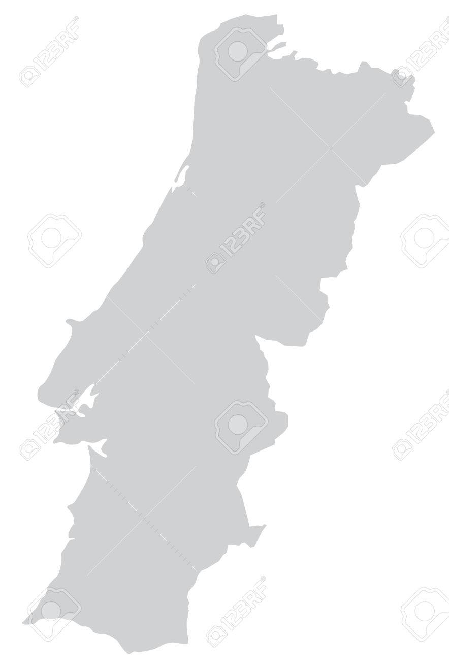 Map Of Portugal With Borders In Gray Royalty Free Cliparts - Portugal map vector