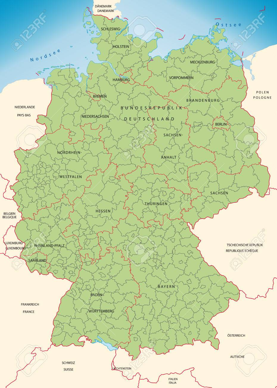 map of germany with borders in green stock vector 25149433