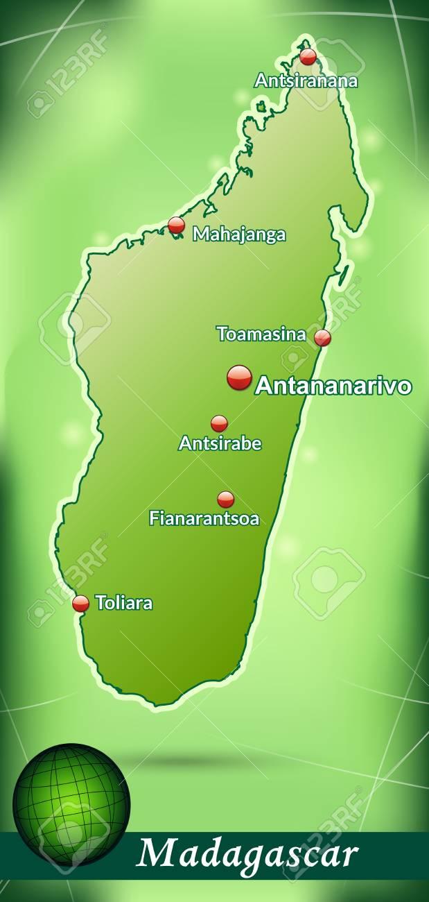 Madagaskar Karte.Stock Photo