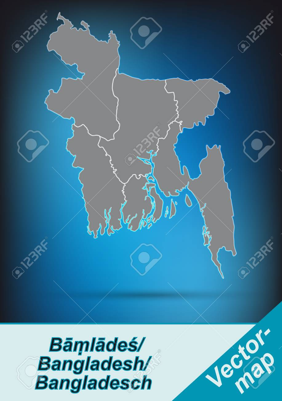 Map Of Bangladesh With Borders In Bright Gray