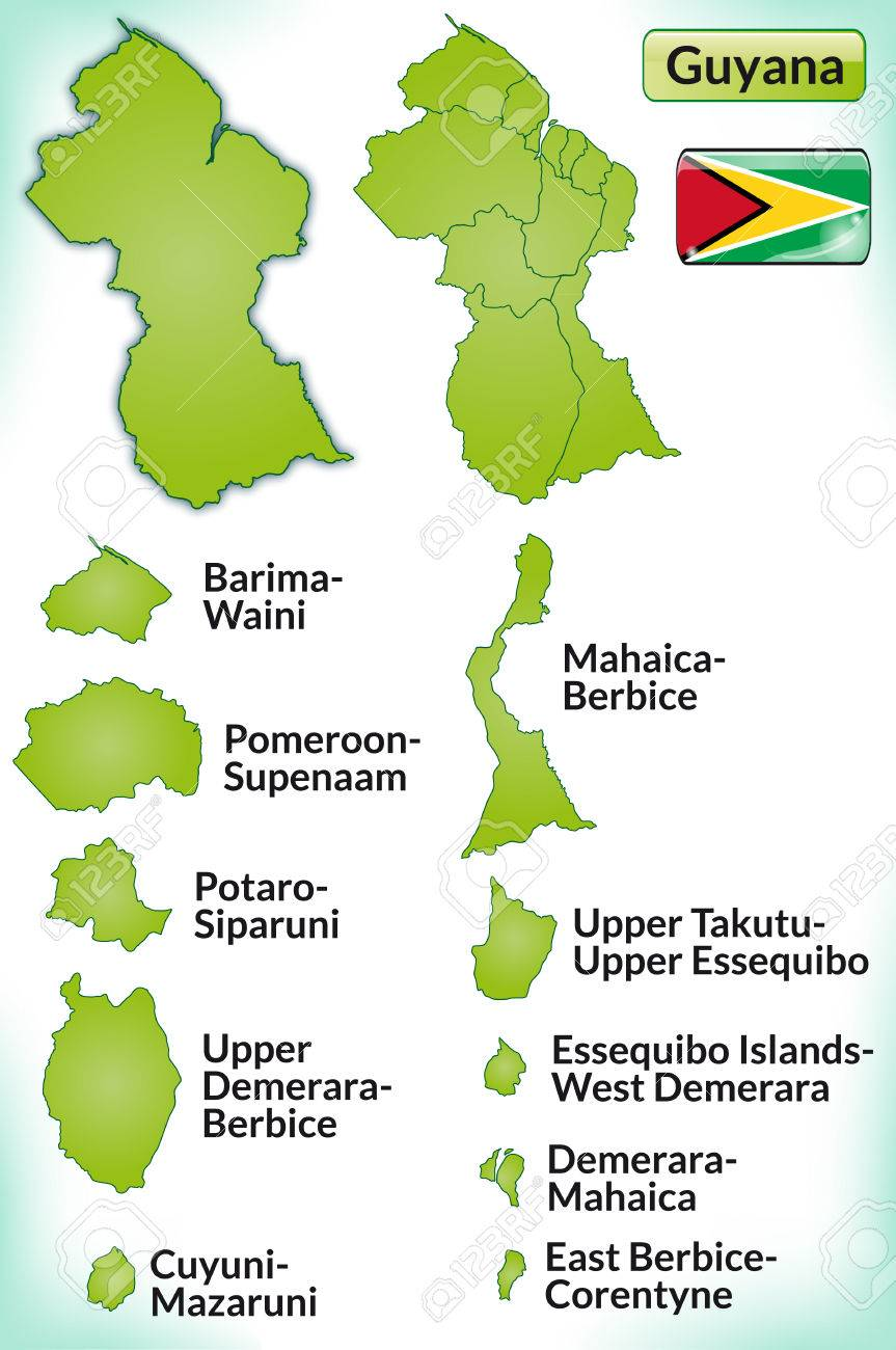 Map Of Guyana With Borders In Green Royalty Free Cliparts, Vectors ...