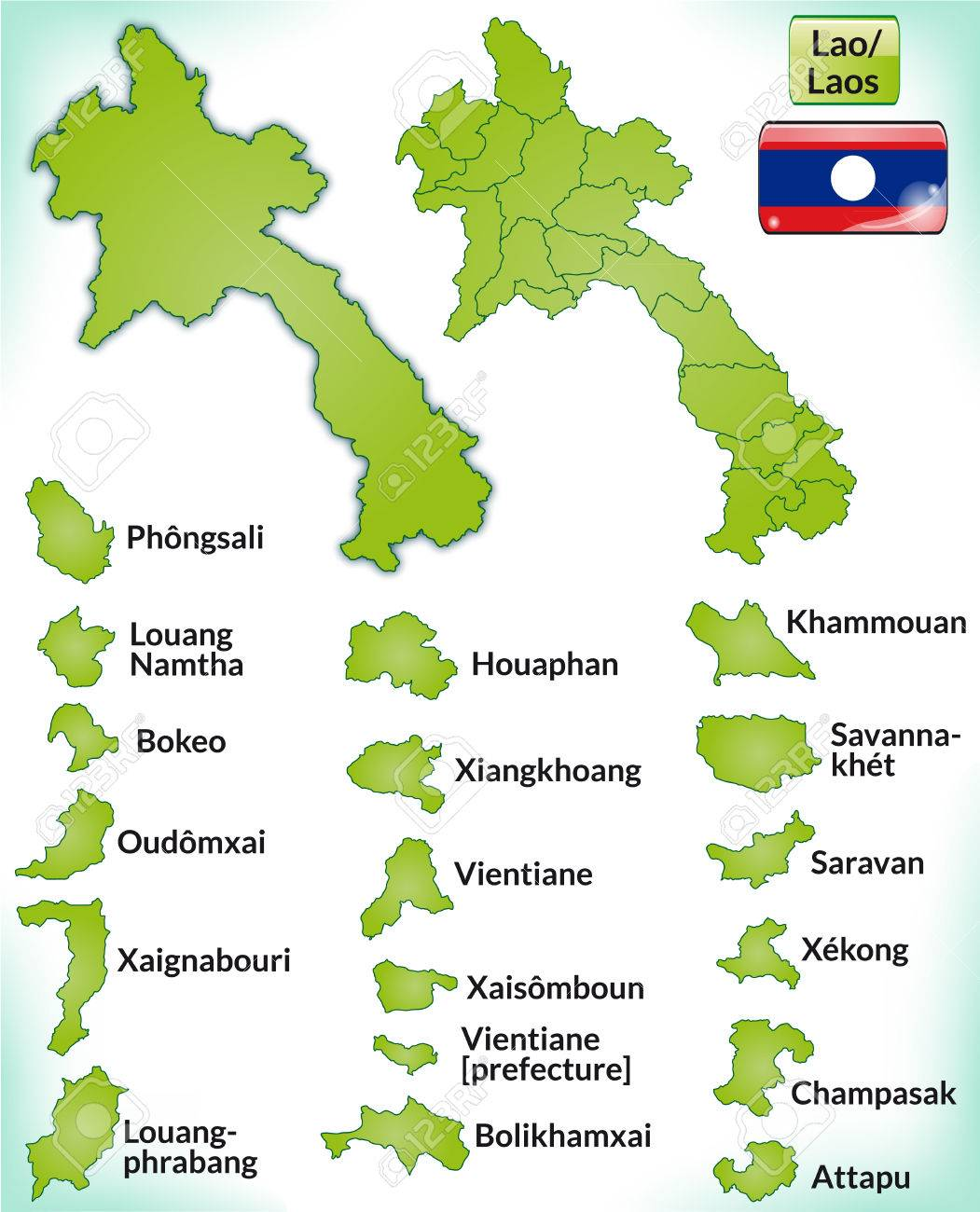 Map Of Laos With Borders In Green Royalty Free Cliparts, Vectors ...